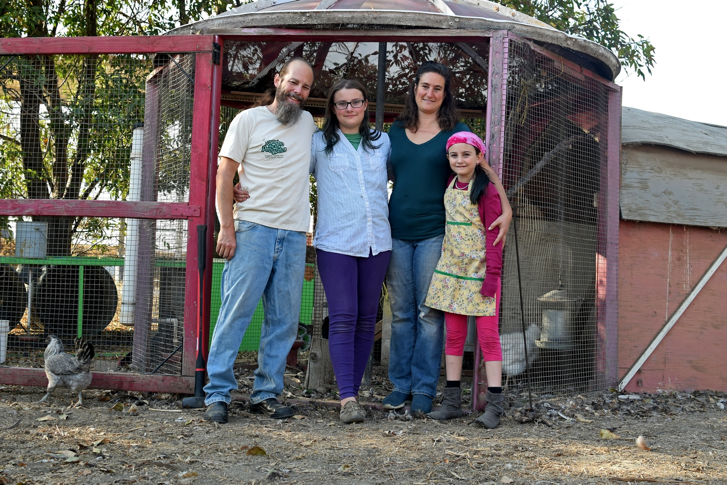 Our family at the chicken coop
